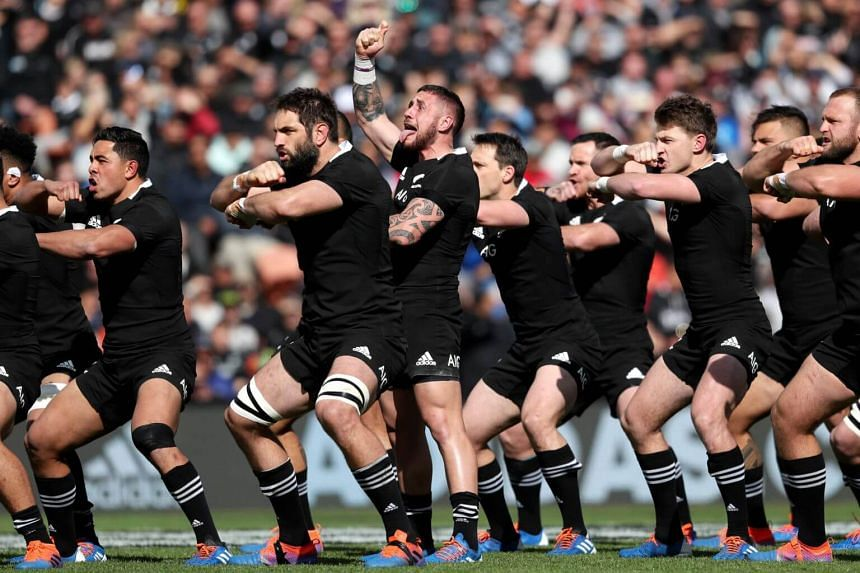 New Zealand players perfrom the Haka during the rugby union Test match between New Zealand and Tonga in Hamilton on Sept 7, 2019.