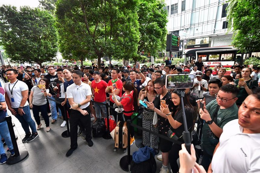 Crowds outside the Apple store in Orchard Road on Sept 20, 2019.