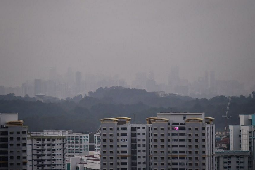 The haze over Upper Bukit Timah Road on the morning of Sept 20, 2019.