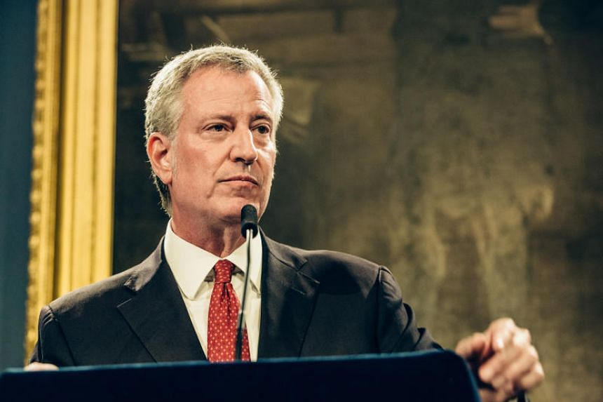 In a photo taken on Aug 2, New York Mayor Bill de Blasio speaks at a news conference at City Hall in New York.