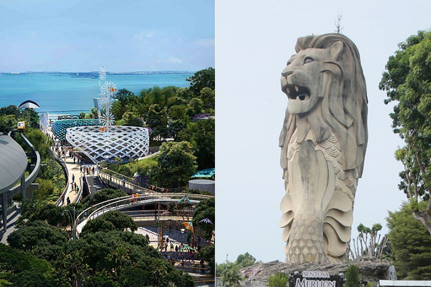 The towering 37m-tall Merlion statue will be demolished by year-end, when works will begin on the $90 million Sentosa Sensoryscape project (left).