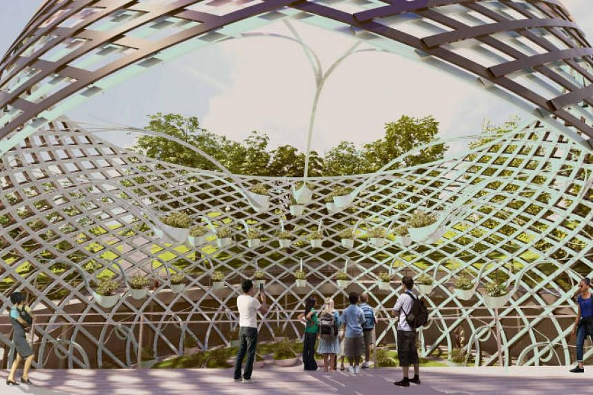 Artist's impression of one of the vessel-like structures, which features fragrant plants, as part of the rejuvenated Sentosa Sensoryscape.