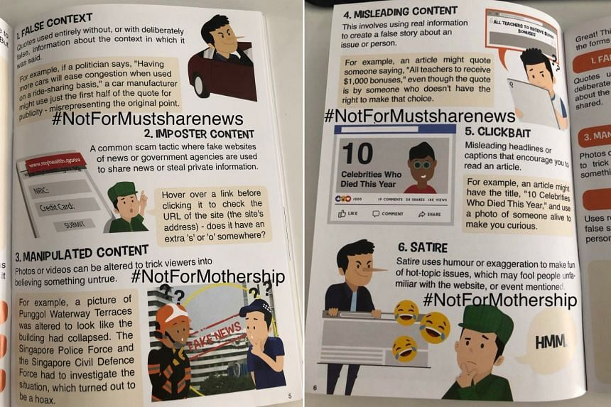 """Besides listing satire as a form of """"fake news"""", the booklet also said that satire uses humour or exaggeration to make fun of hot-button issues."""