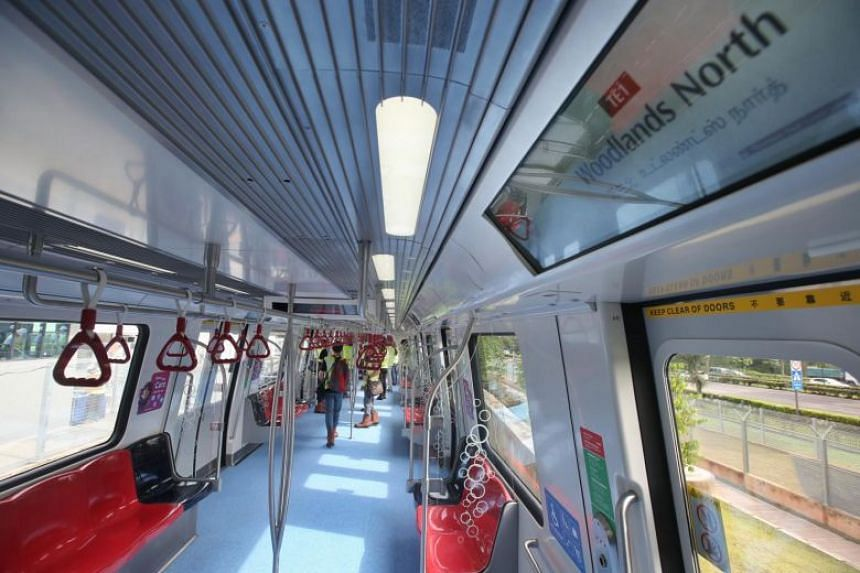 The interior of the first Thomson-East Coast Line train at the new Mandai Rail Depot. The nine trains for Stage 1 are being tested and commissioned at Mandai Depot.