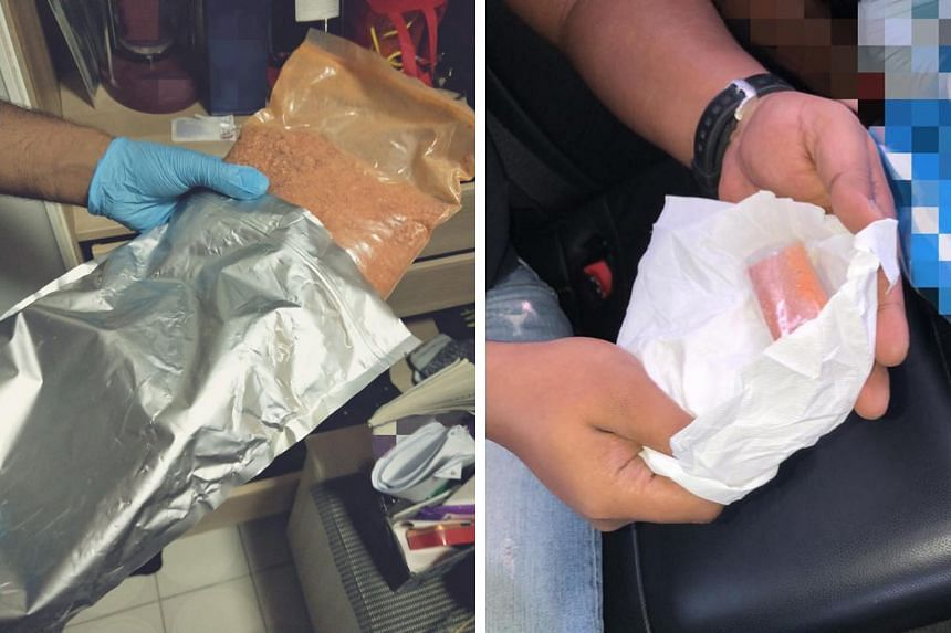 The Central Narcotics Bureau said the powdery substances found during its operation near Ang Mo Kio Avenue 3 mimic the effects of Class A controlled drugs, such as cannabis and cocaine.