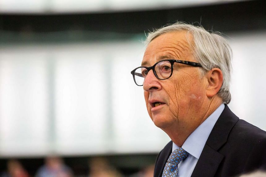 Jean-Claude Juncker delivers a speech at a session of the European Parliament.