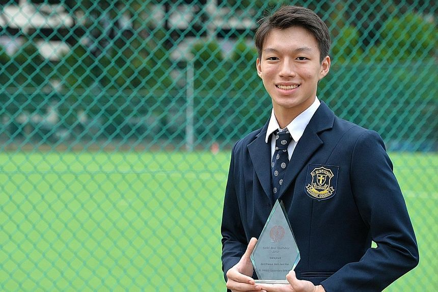 Zacchaeus Goh, Best Sportsboy for volleyball, spent over a year learning the ropes before getting regular play time.