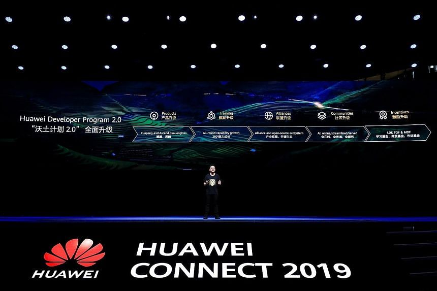Mr Patrick Zhang, Huawei's chief technology officer of its cloud and artificial intelligence products and services, speaking on the last day of a three-day conference held in Shanghai yesterday. The firm is investing US$1.5 billion (S$2 billion) in t