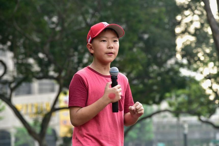 Temasek Primary School pupil Oliver Chua Ray, 11, speaking at the Singapore Climate Rally on Sept 21, 2019.