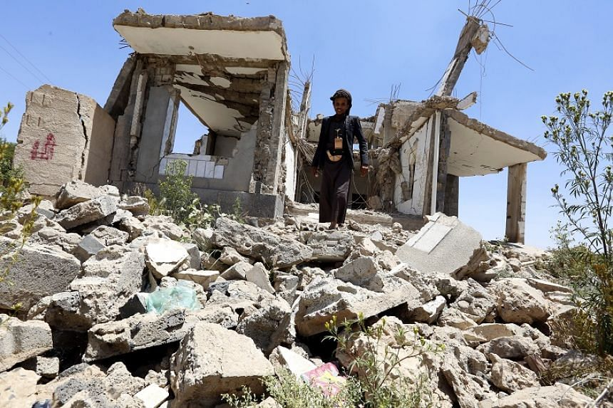 Debris of a destroyed house allegedly hit by a previous Saudi-led airstrike in Sanaa, Yemen, on Sept 19, 2019. The Western-backed, Sunni Muslim coalition led by Saudi Arabia and the United Arab Emirates intervened in Yemen in March 2015 after the Ira
