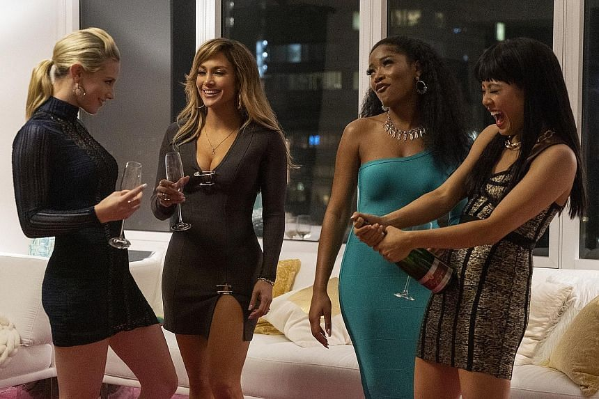 Jennifer Lopez (second from left) with co-stars (from left) Lili Reinhart, Keke Palmer and Constance Wu in a scene from Hustlers. Malaysia's censorship board has criticised the movie as being packed with too much obscene content not suitable for cine