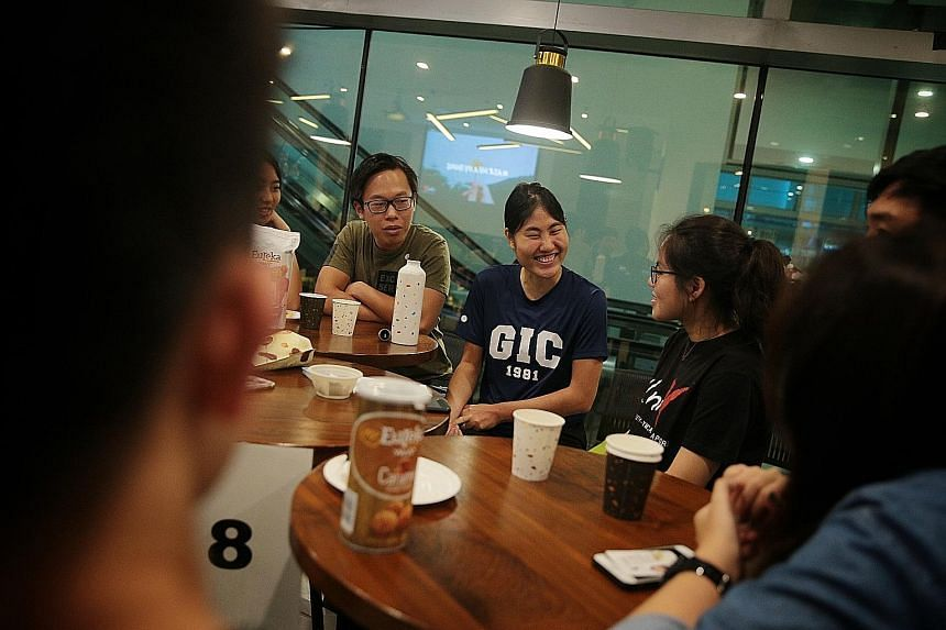 Participants attending a small group discussion session of the YMCA Conversation Series 2019 at the Singapore Management University yesterday. Some 70 students and members of the public attended the annual one-day event that focused on issues relatin