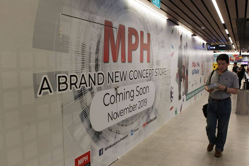 A hoarding for an MPH store put up at the second level of the SingPost Centre, on Sept 20, 2019.