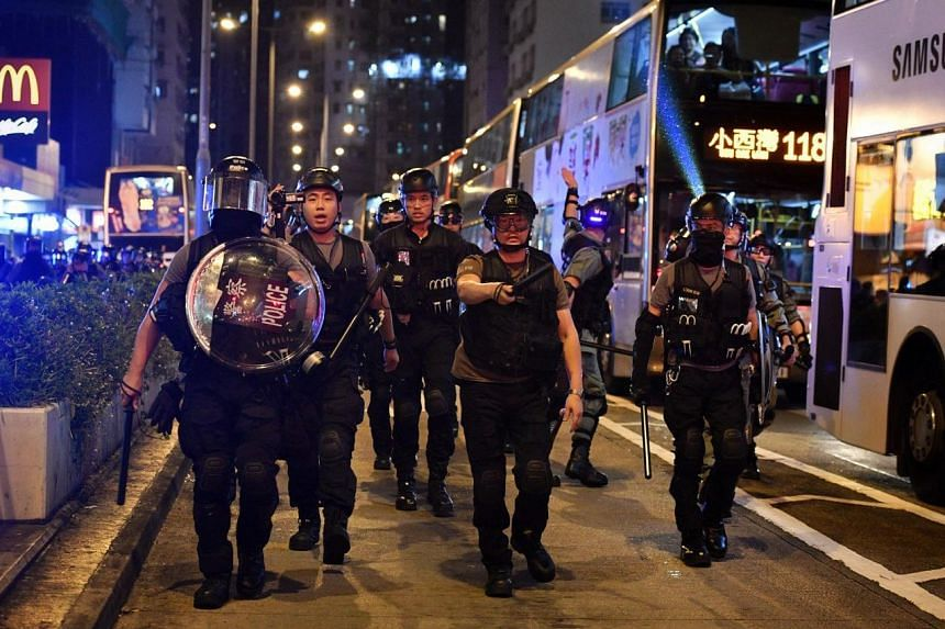 Police came out briefly to clear the protesters after they set Nathan road on fire but the protesters returned shortly afterwards.