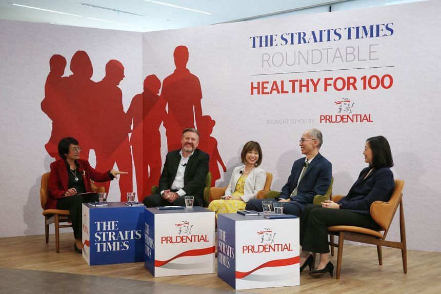 (From left) ST senior health correspondent Salma Khalik, chief executive of Prudential Singapore Wilf Blackburn, Senior Minister of State for Health Amy Khor, senior geriatric consultant at Tan Tock Seng Hospital Lim Wee Shiong and Health Promotion B
