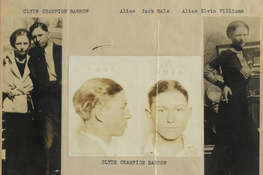 A wanted poster featuring Bonnie Parker and Clyde Barrow.