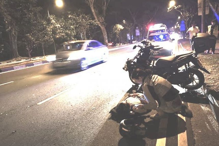 Police said they were alerted to an accident on Saturday night (Sept 21) involving a motorcycle at Upper Thomson Road towards Thomson Road.