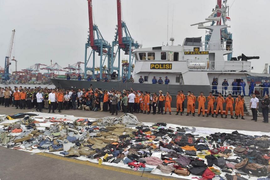 This photo taken on Oct 30, 2018 shows recovered debris from the ill-fated Lion Air flight JT610.