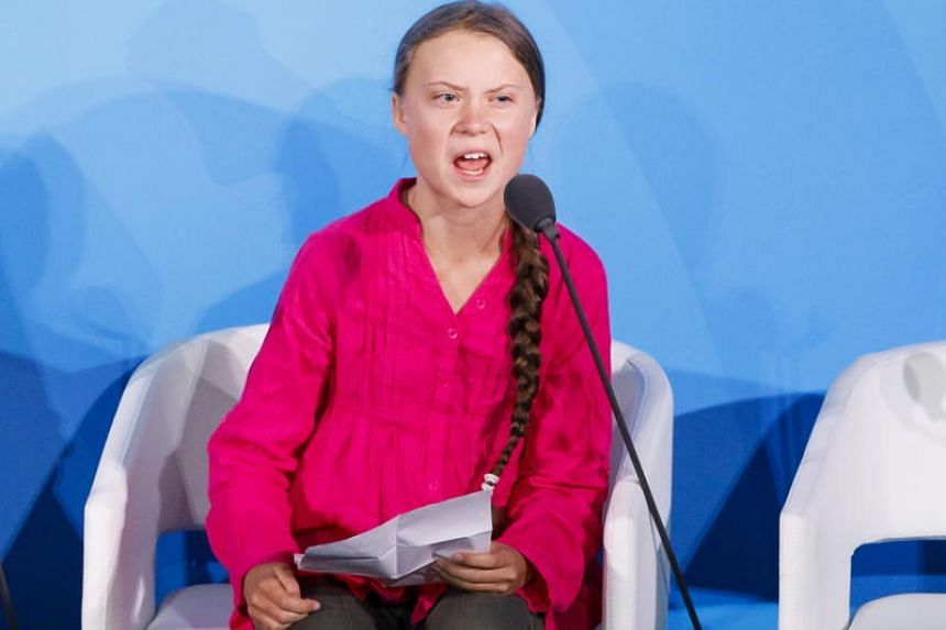 Greta Thunberg, the 16-years-old climate activist from Sweden, addresses world leaders at the start of the 2019 Climate Action Summit which is being held at United Nations Headquarters in New York on Sept 23, 2019.
