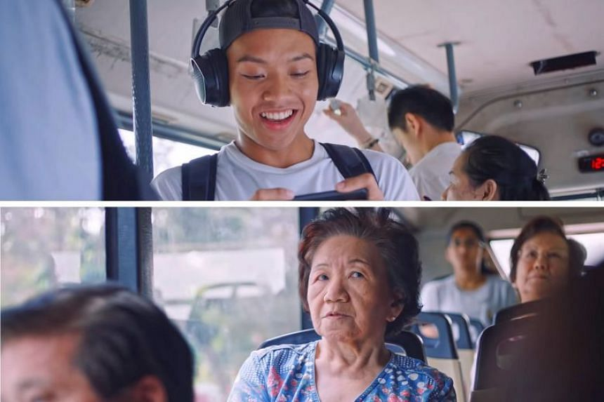 """Screenshots from the CPF Board's ad, titled Tsk, which aims to encourage viewers to plan for retirement. It shows elderly commuters tut-tutting at a young man. The board said it will """"strive to improve how we convey our messages in future""""."""