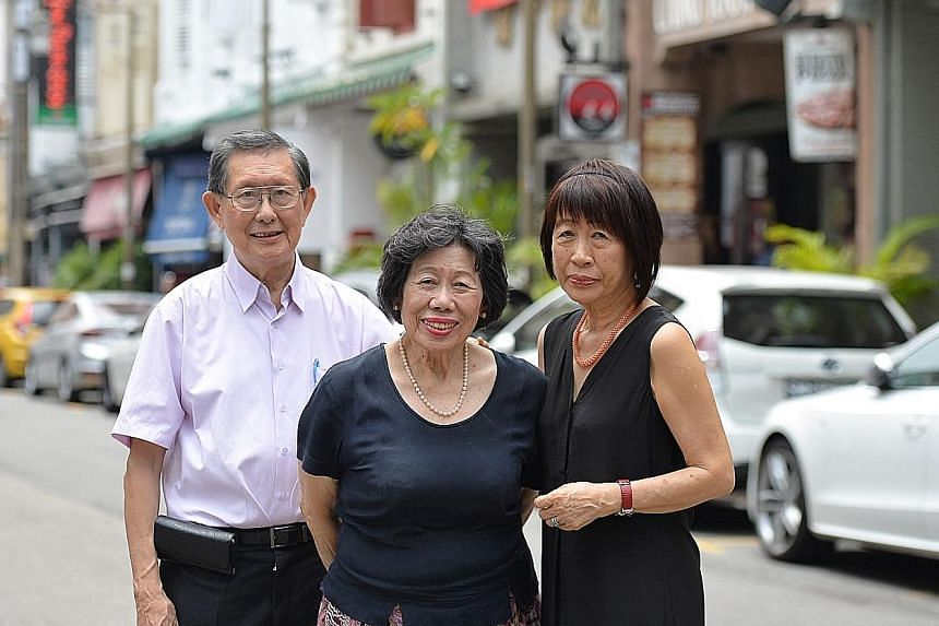 Singapore pioneer Chia Ann Siang's descendants (from left) Soh Tiang Keng, Ruth Chia and Linda Kow, seen here in Ann Siang Hill in Chinatown, are behind the new book, Chia Ann Siang And Family: The Tides Of Fortune. The Chia family fortune at one tim