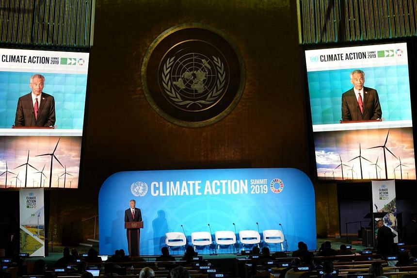 Singapore Prime Minister Lee Hsien Loong delivers a speech during the Climate Action Summit at the United Nations headquarters in New York on Sept 23, 2019.