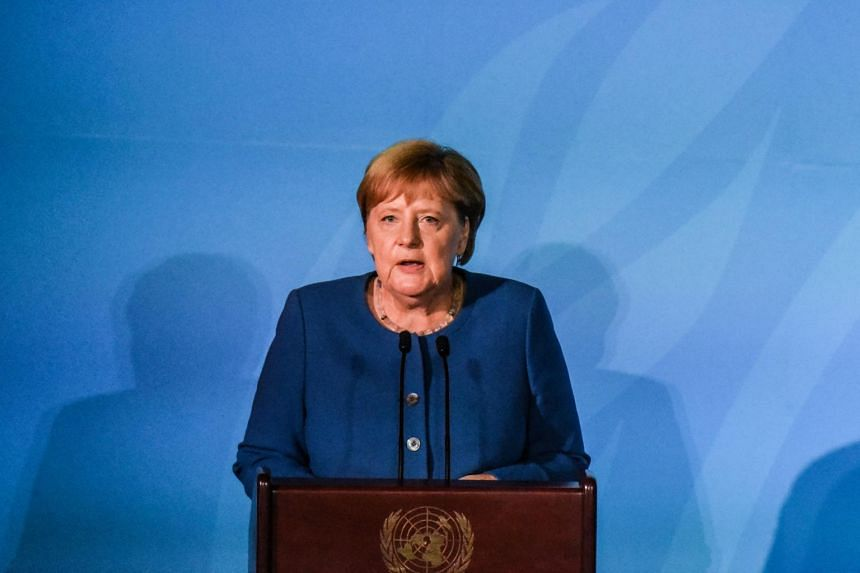 Chancellor of Germany Angela Merkel speaks at the Climate Action Summit at the United Nations, on Sept 23, 2019.