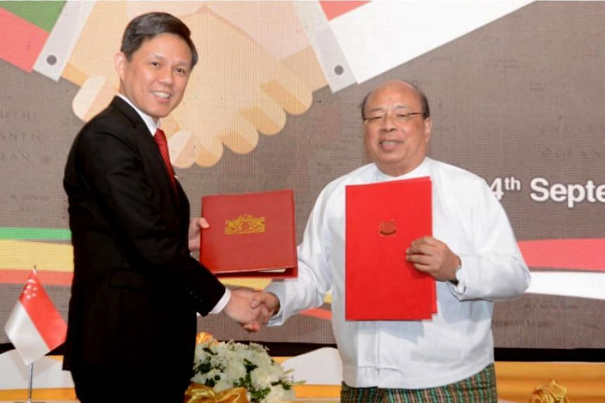 Minister for Trade and Industry Chan Chun Sing and Union Minister for Investment and Foreign Economic Relations Thaung Tun signed the new treaty in Yangon on Sept 24, 2019.