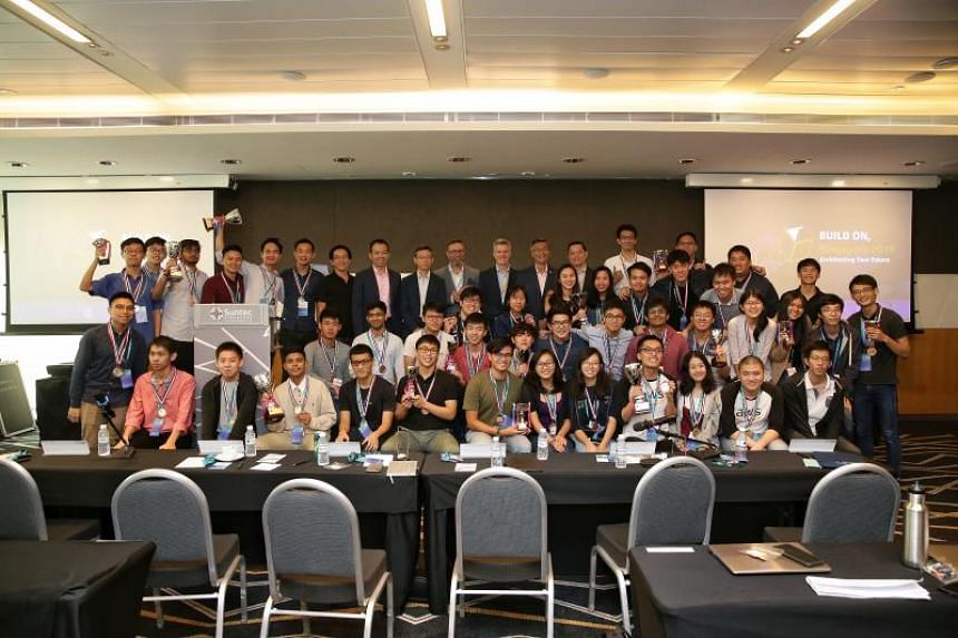 Award winners and judges taking a group photo during the Build On, Singapore 2019 Hackathon at Suntec Convention Centre on Sept 24, 2019.