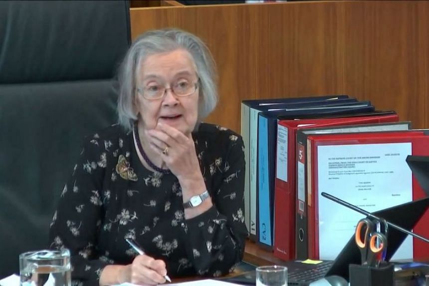 Brenda Hale during a hearing on the prorogation of the British parliament in London.