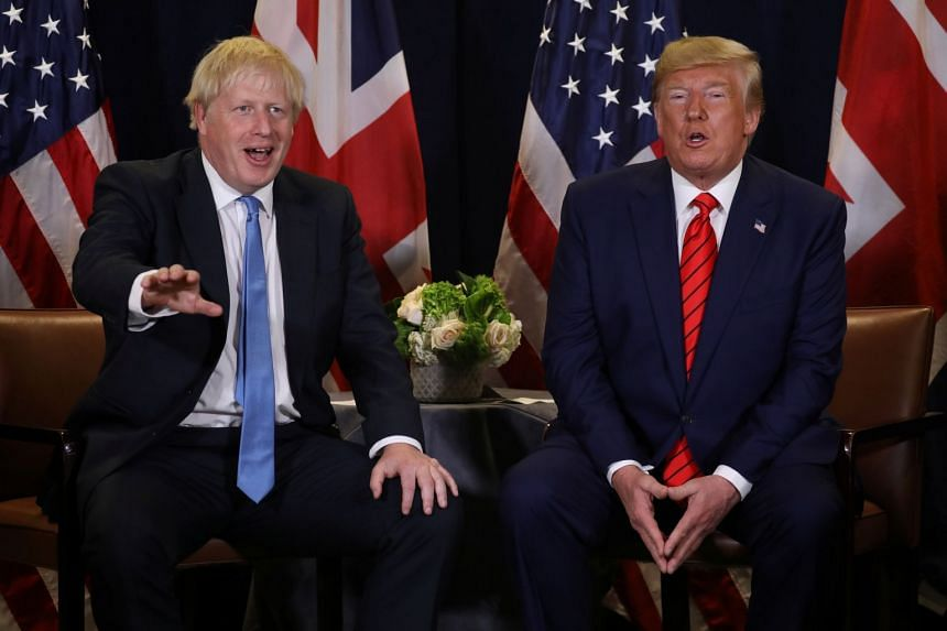 Johnson and US President Donald Trump talk to reporters during a bilateral meeting on the sidelines of the annual UN General Assembly.