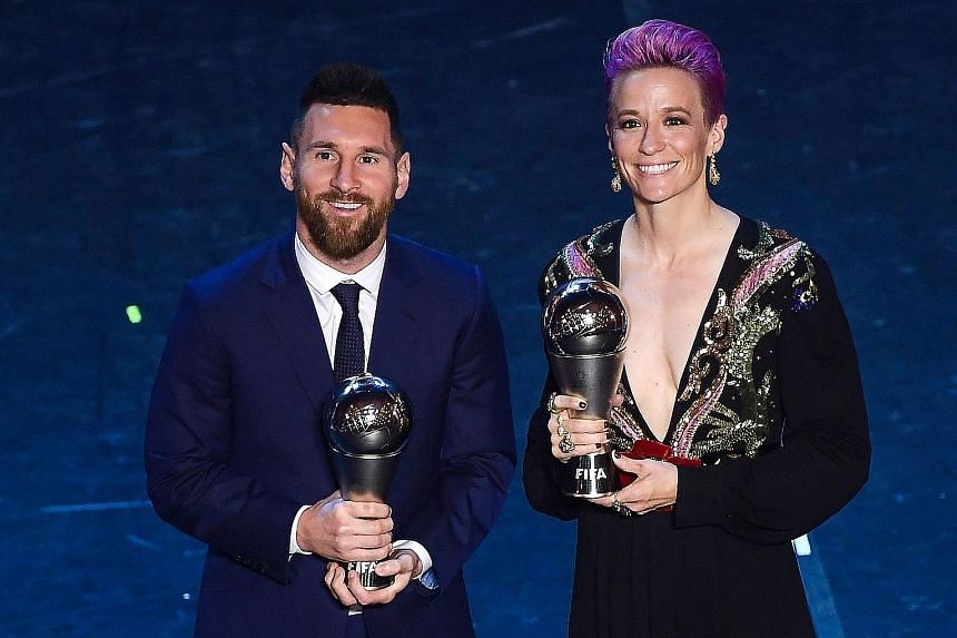 Lionel Messi and Megan Rapinoe posing with their awards in Milan on Monday night. It was Messi's sixth award and Rapinoe's first. Far right: Liverpool's Jurgen Klopp and USA head coach Jill Ellis won the men's Coach of the Year award and the women's