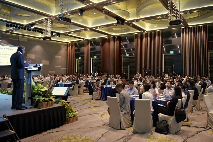 Home Affairs and Law Minister K. Shanmugam speaks at the Conference on Foreign Interference Tactics and Countermeasures, held on Sept 25, 2019.