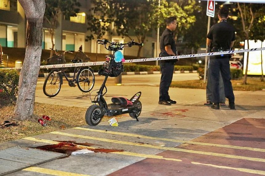 Photographs of the scene of the accident in Bedok North show bloodstains on the pavement next to the cycling path.
