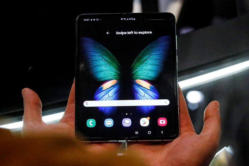 The Samsung Galaxy Fold 5G phone is presented at the hall of Samsung at the IFA consumer tech fair in Berlin, Germany, September 6, 2019.