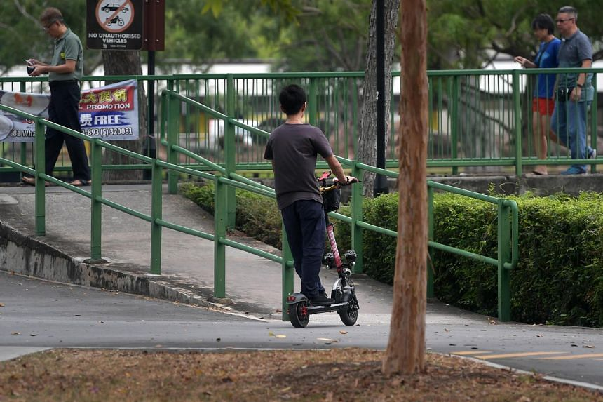 Personal Mobility Device (PMD) user travelling along the Sungei Kallang at Whampoa estate on Sept 16, 2019.