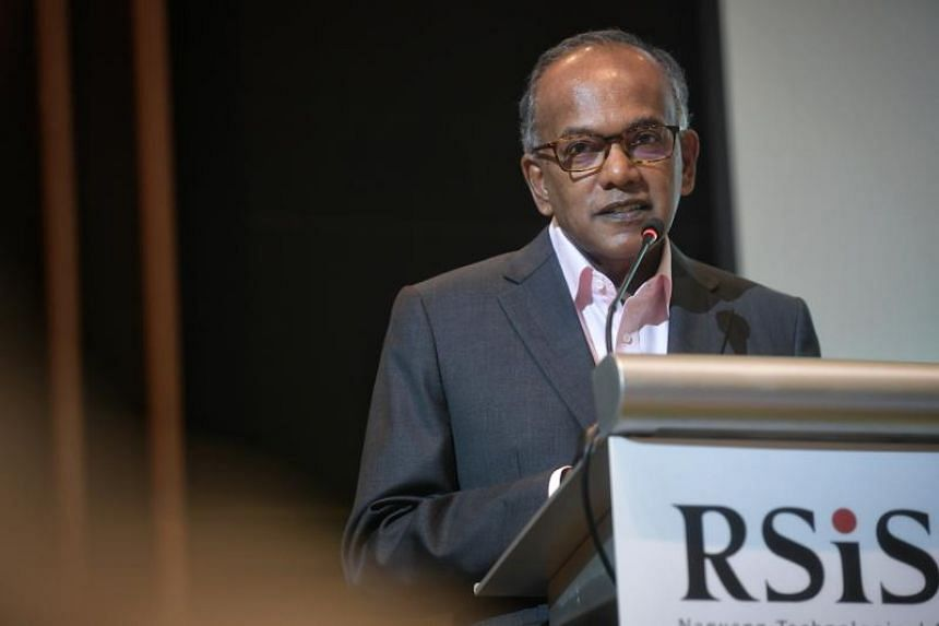 Home Affairs and Law Minister K. Shanmugam speaks at a conference on Foreign Interference Tactics and Countermeasures on Sept 25, 2019.