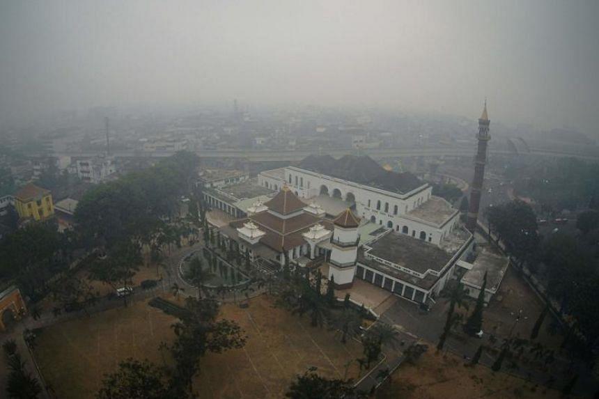 Haze covers the city of Palembang, South Sumatra, on Sept 20, 2019.