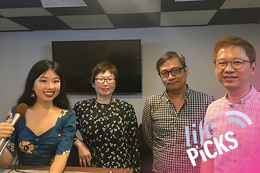 Arts writer Olivia Ho (far left), food writer Tan Hsueh Yun (second from left) and entertainment writer Boon Chan (far right) share their picks for the week with host John Lui (third from left).