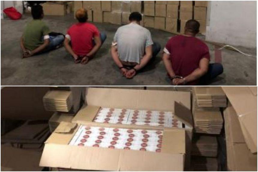 Duty-unpaid cigarettes found in the warehouse unit in Bukit Batok Crescent. Four men were arrested.