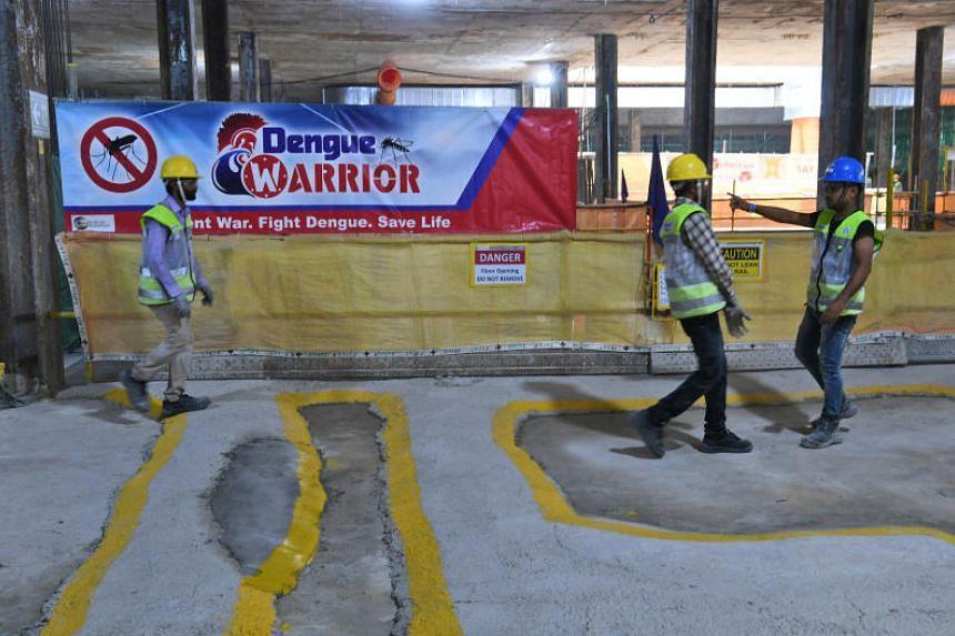 A dengue prevention banner inside the upcoming Tanjong Katong MRT Station on Sept 26, 2019.