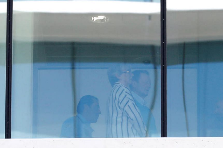Roger Clarke and Sue Clarke, a British couple accused of smuggling drugs aboard a cruise ship, arrive at the court in Lisbon, Portugal, on Sept 26, 2019.