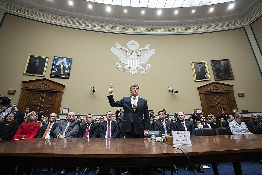Mr Joseph Maguire, acting director of National Intelligence, testifying before the US House Intelligence Committee in Washington yesterday over the whistle-blower's complaint against President Donald Trump. Mr Maguire told the committee that he belie