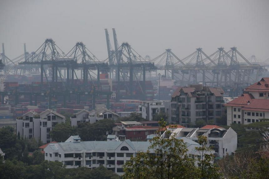 View of PSA Pasir Panjang Terminal at around 1.45pm on Sept 26, 2019. The 24-hour PSI reading in the southern part of Singapore was 66 as at 1pm on Sept 26, 2019.