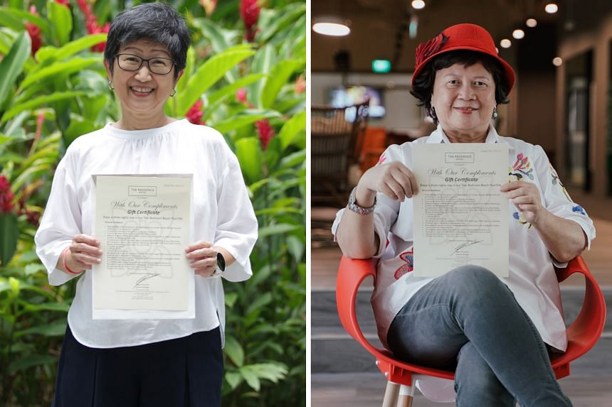 Ms Celia Chong (left) and Ms Lilian Seet (right) are two of the three winners anticipating a relaxing stay at the beachfront villa in The Residence Bintan.