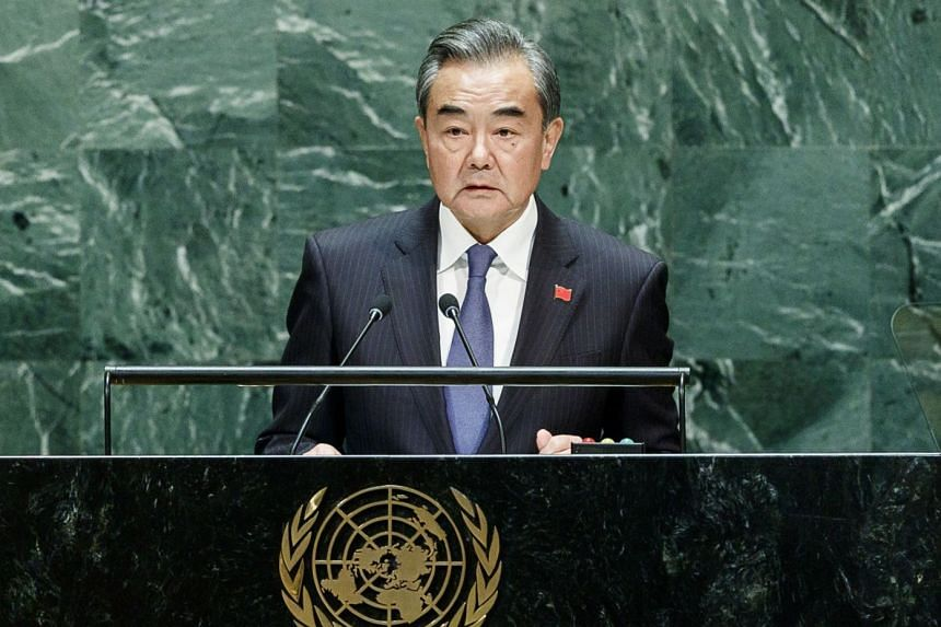 China's Foreign Minister Wang Yi addresses the UN General Assembly.