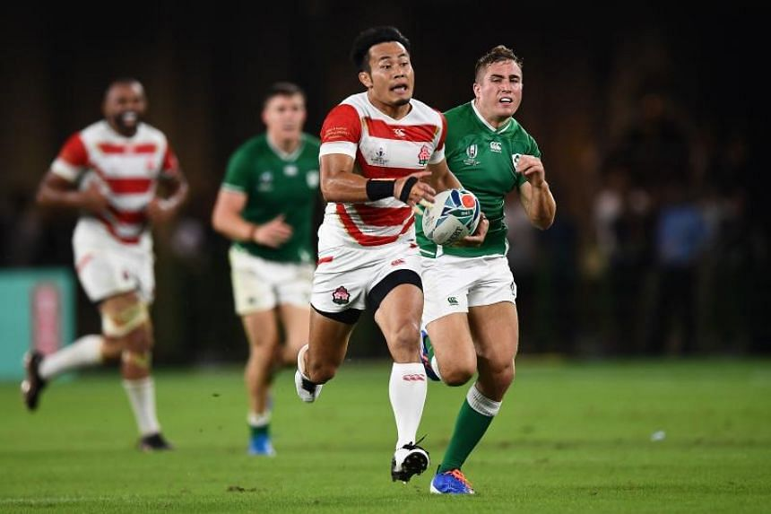 Japan's wing Kenki Fukuoka in action during the Rugby World Cup Pool A match between against Ireland at the Shizuoka Stadium Ecopa on Sept 28, 2019.