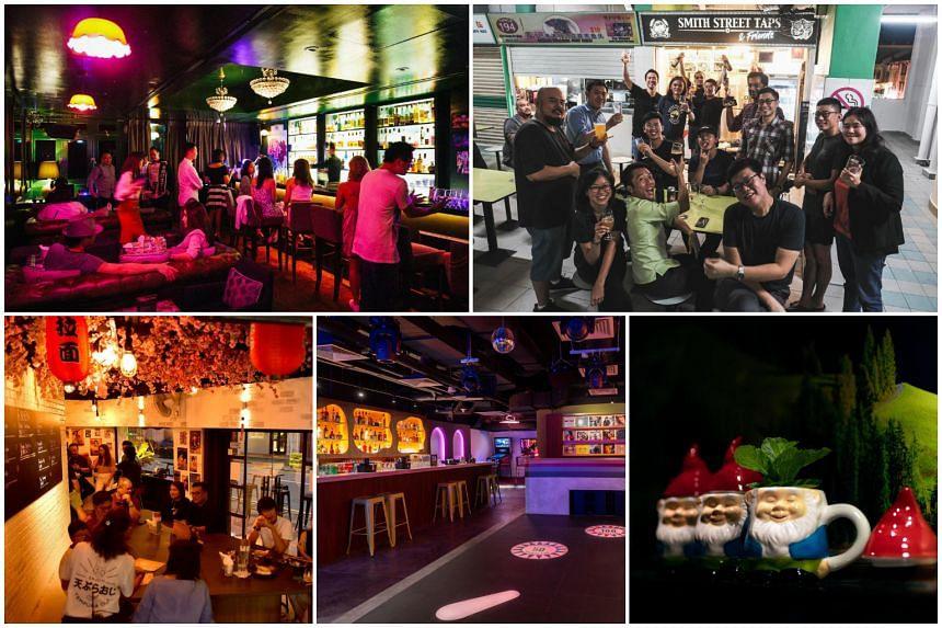 Well-hidden nightspots (clockwise from top left) Mona Lounge, Smith Street Taps & Friends, Petite Chalet By Junior, Pinball Wizard and Tempura Oji.