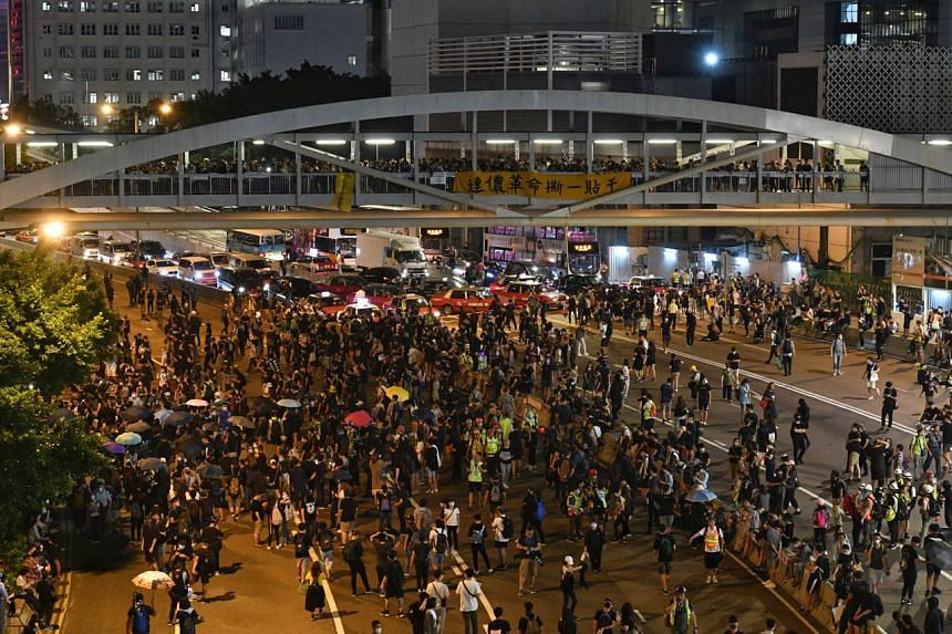 Protesters occupying Harcourt Road in Hong Kong on Sept 28, 2019.