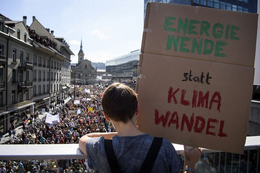 Thousands of people protest against a lack of climate awareness in Bern, Switzerland.